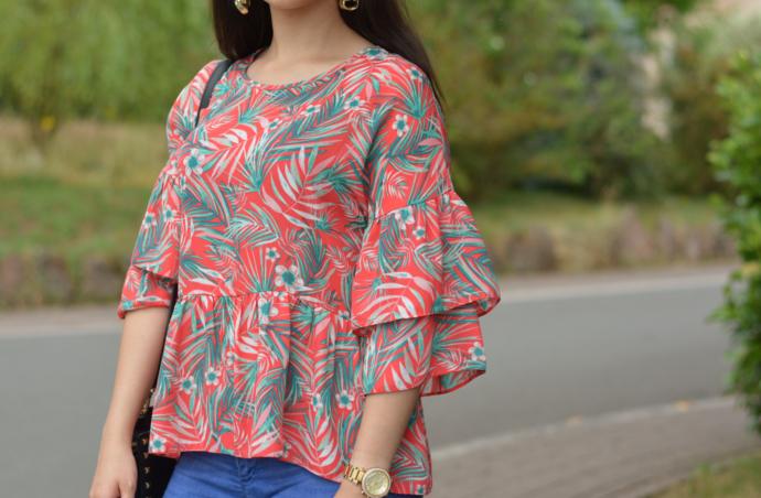 tropical print top, palm print top, floral print top, ruffle