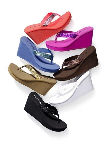 Colin Stuart Glitter Wedge Flip Flops All About Shoes