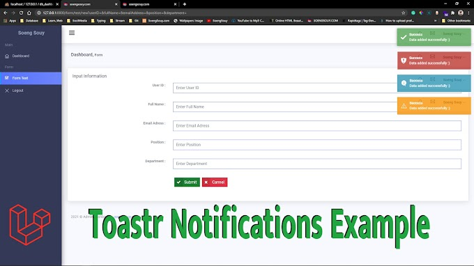 Laravel 8.x Toastr Notifications Example Tutorial
