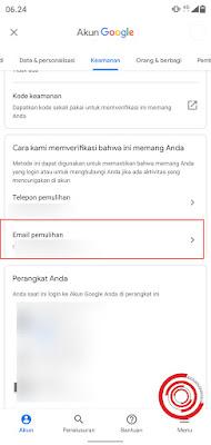 3. Selanjutnya pilih setelan Email pemulihan bukan Telepon pemulihan