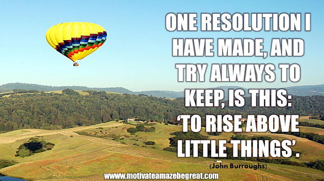 "The Meaning Behind 31 Motivational Quotes: ""One resolution I have made, and try always to keep, is this: 'To rise above little things'."" - John Burroughs"