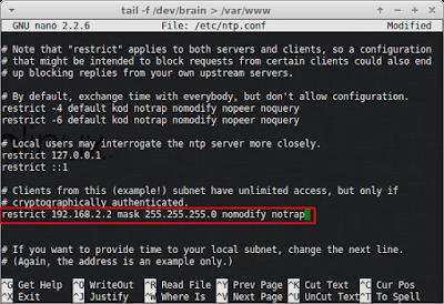 """Setelah itu hapus pagarnya dan rubah menjadi """"restrict (ip-server) mask 255.255.255.0 nomodify notrap"""""""