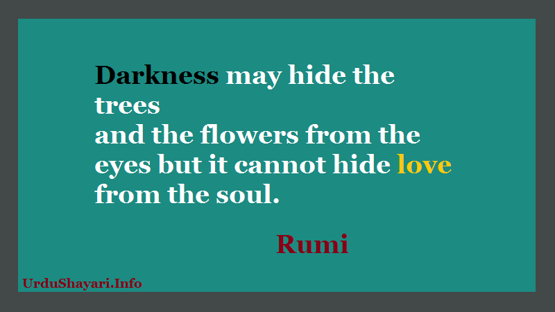 Rumi Quotes on Flowers, Love, Eyes, Trees, Poetry in English, About Soul - Darkness may hide