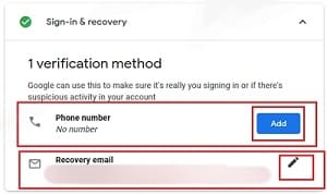 Sign in & Recover option of security checkup