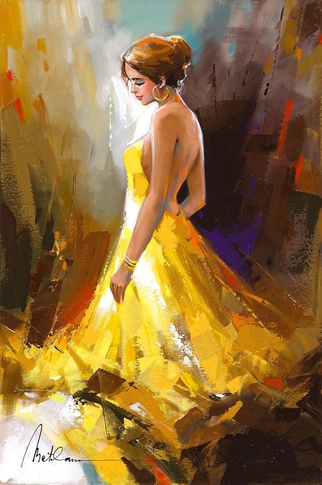 Anatoly Metlan A Beauty in a Golden Dress