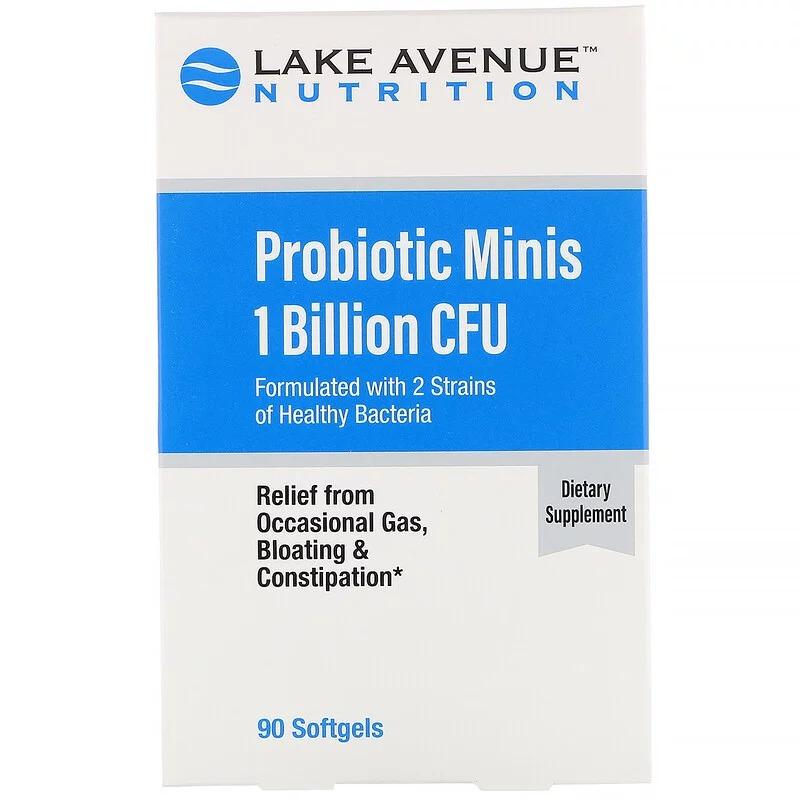 Lake Avenue Nutrition, Мини-пробиотики, 2 штамма здоровых бактерий, 1 млрд КОЕ, 90 мягких мини-таблеток