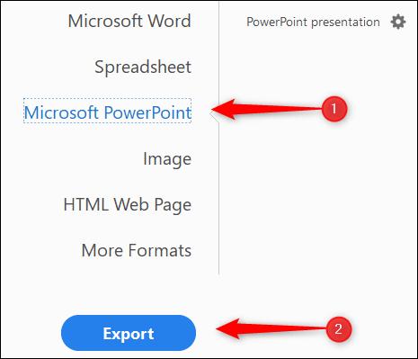 تصدير كبرنامج Microsoft PowerPoint