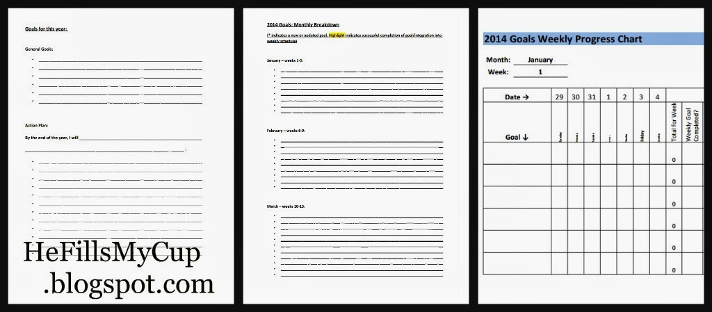 He Fills My Cup  Free Printable Goal-Setting Worksheets and - goal setting templates