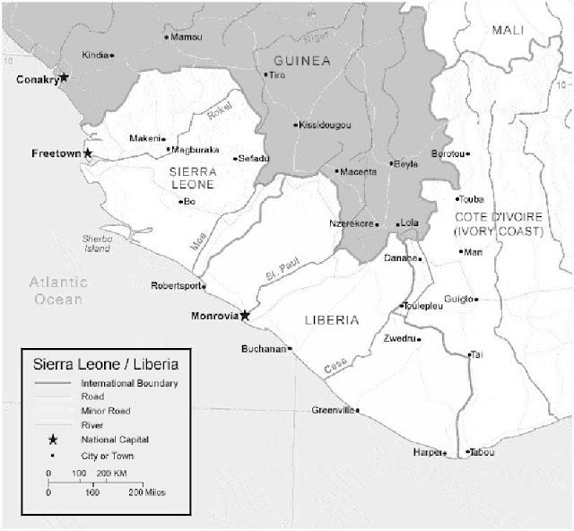 image: Black and white Liberia map