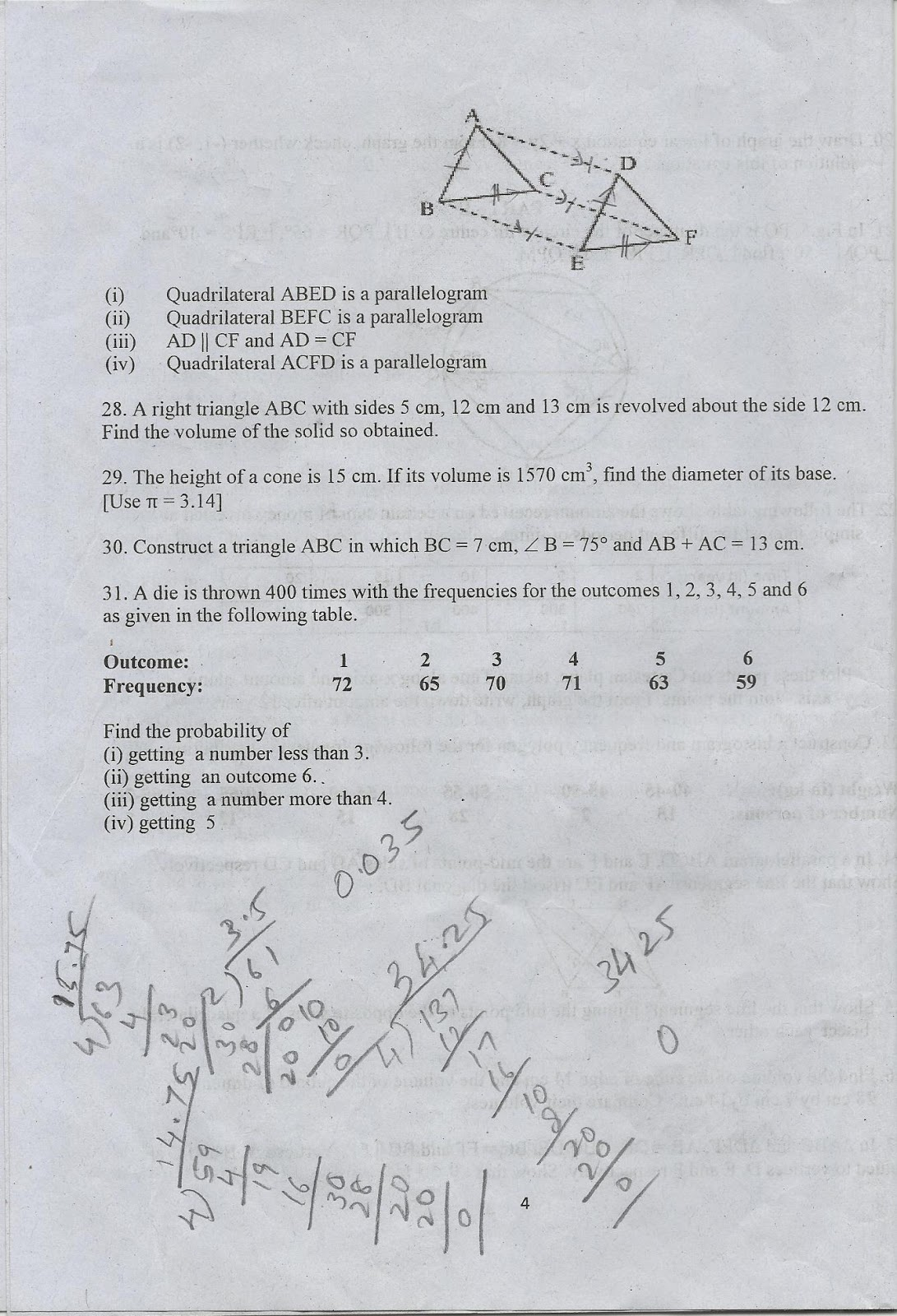 CBSE QUESTION PAPERS: CBSE MATHS CLASS 9 SA 2 REAL