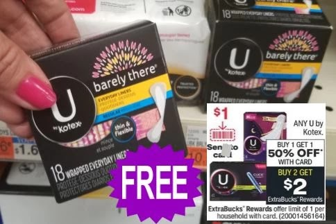 FREE U by Kotex liners CVS Deals