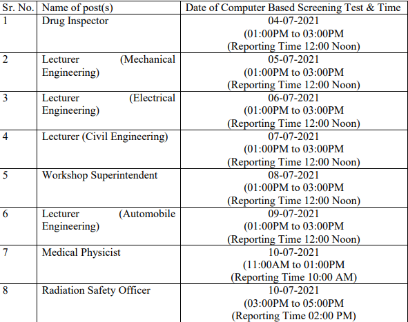 HPPSC Shimla Computer Based Screening Test (CBTs) Date 2021