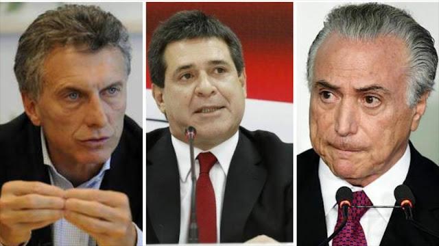 Temer, Macri y Cartes buscan quitar a Venezuela la presidencia del Mercosur