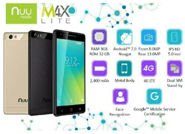 Harga Spek Nuu Mobile M4X Lite Terbaru, Android Nougat