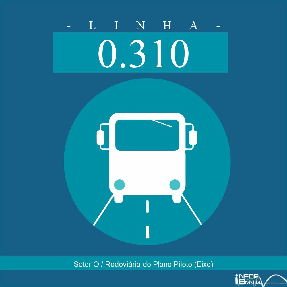 Horário de ônibus e itinerário 0.310 - Setor O / Rodoviária do Plano Piloto (Eixo)