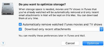 Optimize storage on macOS Sierra-Startup Disk full error