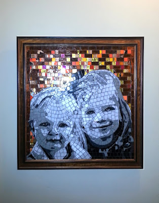 "moisac portrait of ella and Lane, glass, reverse method, 18 x 18"", 2013."