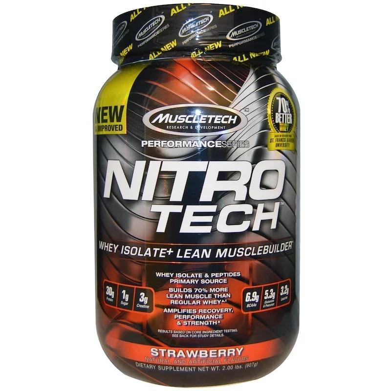 Muscletech, Nitro-Tech, Whey Isolate + Lean Musclebuilder, Strawberry, 2 lbs (907 g)