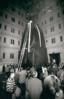 Lette Eisenhauer Descending from Giant Mountain Construction, After Performance of The Courtyard, A Happening by Allan Kaprow, New