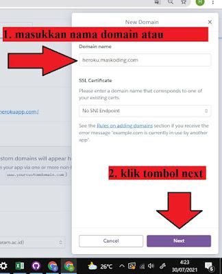 step 3 - cara costom domain heroku