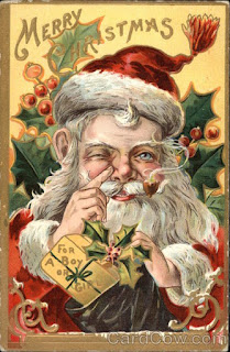 Mischievous gnome looking Victorian Santa touching his nose.