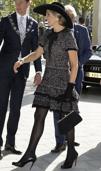 Dutch Queen Maxima wore ZARA Multicolored dress and Christian Louboutin pumps shoes, heels