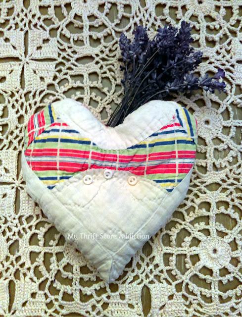 Vintage quilt lavender sachet heart