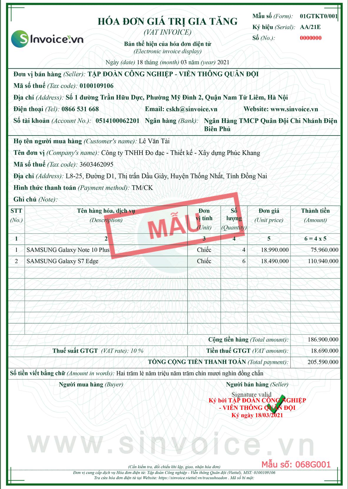 Mẫu hóa đơn điện tử số 068G001