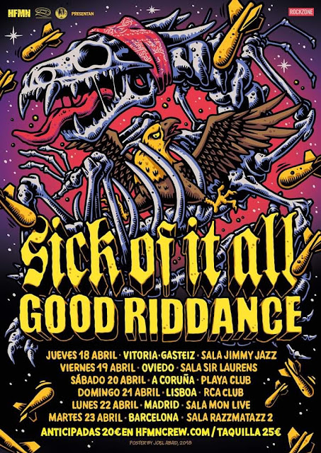 Sick Of It All + Good Riddance Girarán en Abril. El Hardcore Nunca se Fue