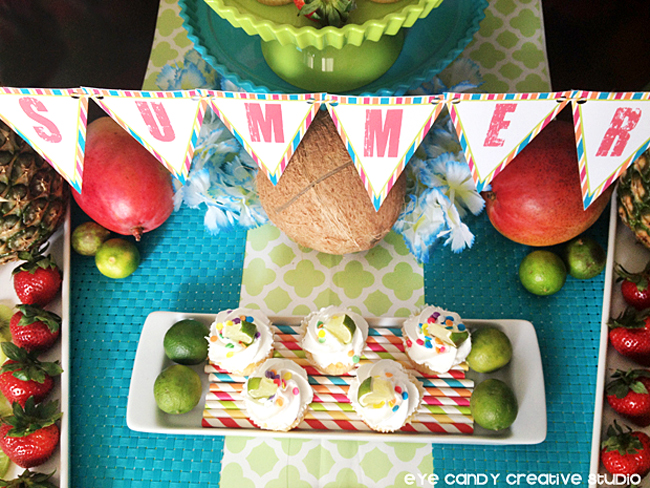 summer stripes, free banner, summer banner, tropical fruit, luau