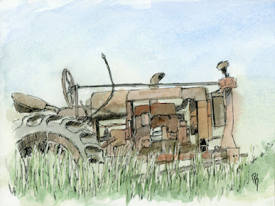 sketch abandoned tractor pen watercolor line and wash