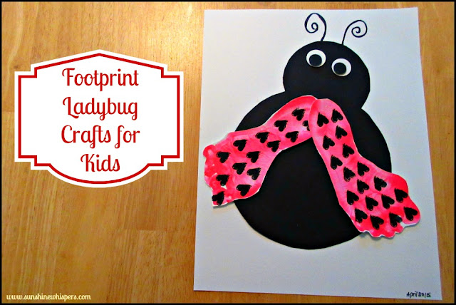 easy art craft for kids ladybug cut out using black construction paper stamped with pink painted feet