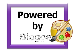picture of Powered by Blogger being painted over, with a purple picture frame border