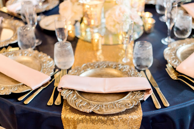 navy and gold place settings
