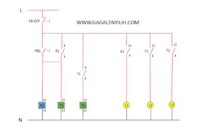 Desain rangkaian sistem kontrol 3 lampu menyala berurutan otomatis