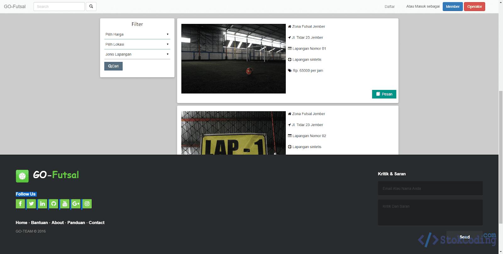 Sistem Aplikasi Penyewaan Lapangan Futsal (PHP)