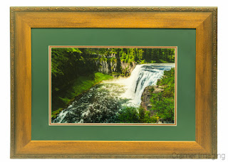 Cramer Imaging's photograph of an award-winning photos depicting a waterfall in a simple double mat and wooden frame