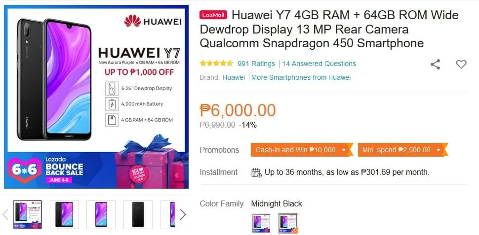 Sale Alert: Huawei Y7 w/ Octa-Core SD450 Chip, 4GB RAM and 4,000mAh Battery On Sale For Only Php6,000