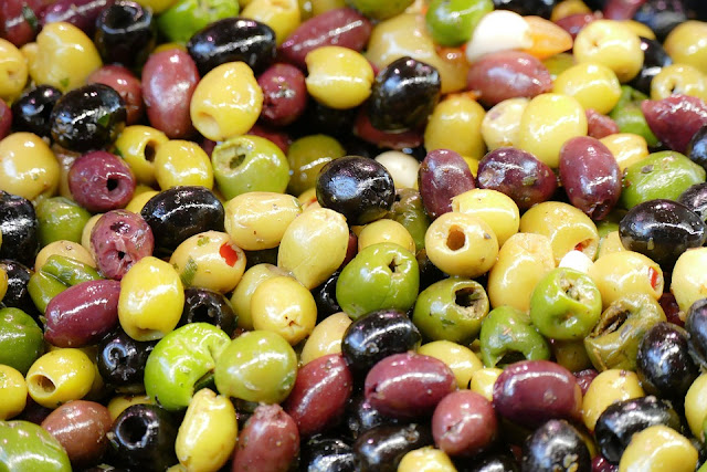 red, black, and Greek olives