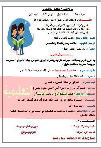 نموذج تحضير لغة عربية حديث للصف الاول الابتدائى الترم الثانى بالقرائية روعة جدا 1
