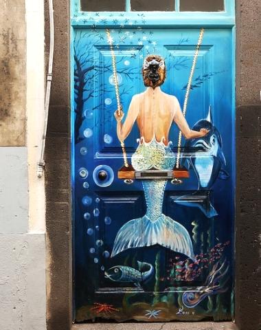 painted art front door