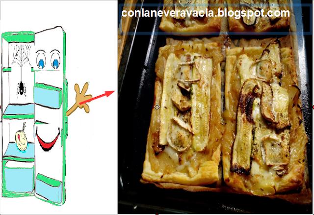 Hojaldre De Cebolla ,calabacín, Rulo De Cabra Y Mozzarela Fresca