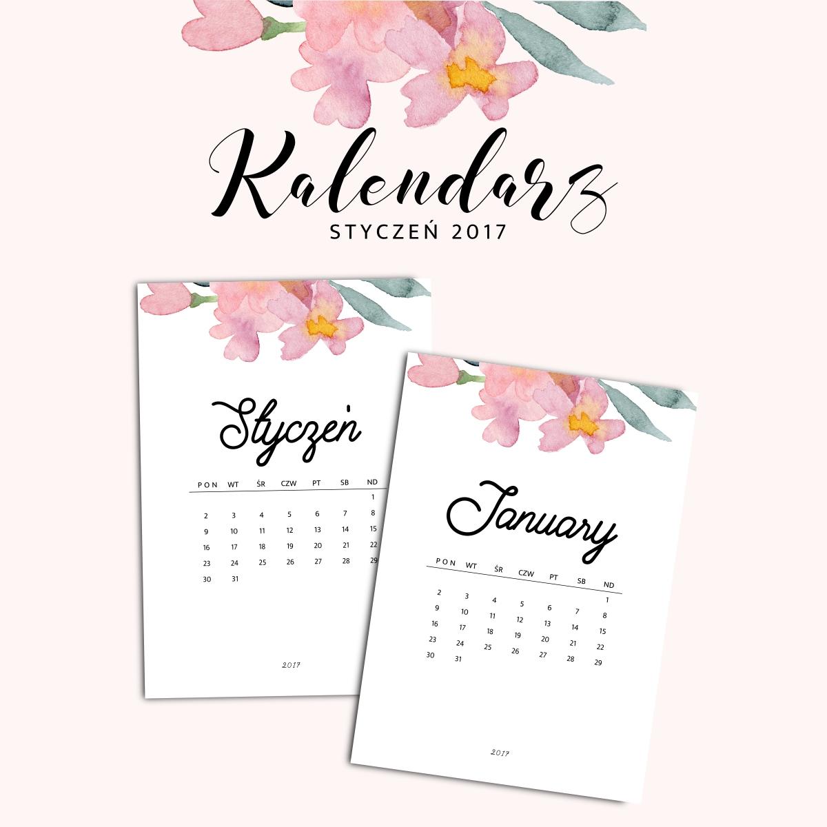 Kalendarz do druku - Styczeń 2017 {do pobrania za darmo}