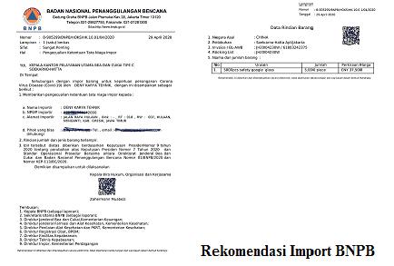 Contoh Surat Rekomendasi Import Alat Kesehatan Bnpb Badan Nasional Penanggulangan Bencana Indonesia Undername Import Export Blog