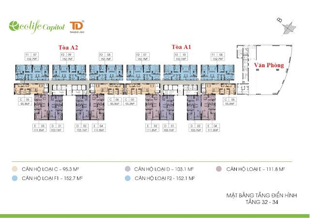 Mặt bằng điển hình tầng 32 - 34 Ecolife Capitol