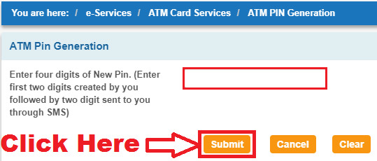 how to generate new pin for sbi atm card