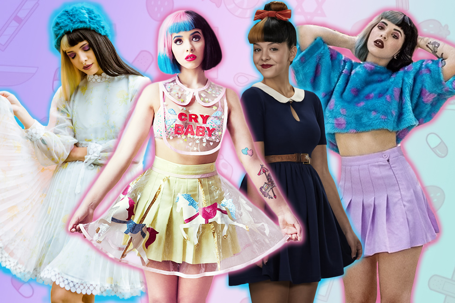 collage with melanie martinez outfits