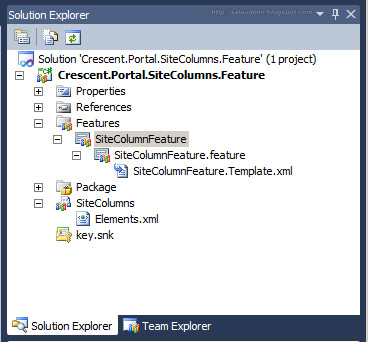 sharepoint site columns visual studio 2010