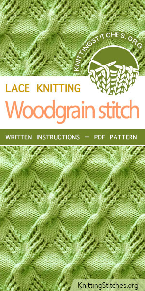 Knitting Stitches -- KNITTING PATTERN - Woodgrain cable lace stich pattern #knittingpattern #stitchpattern