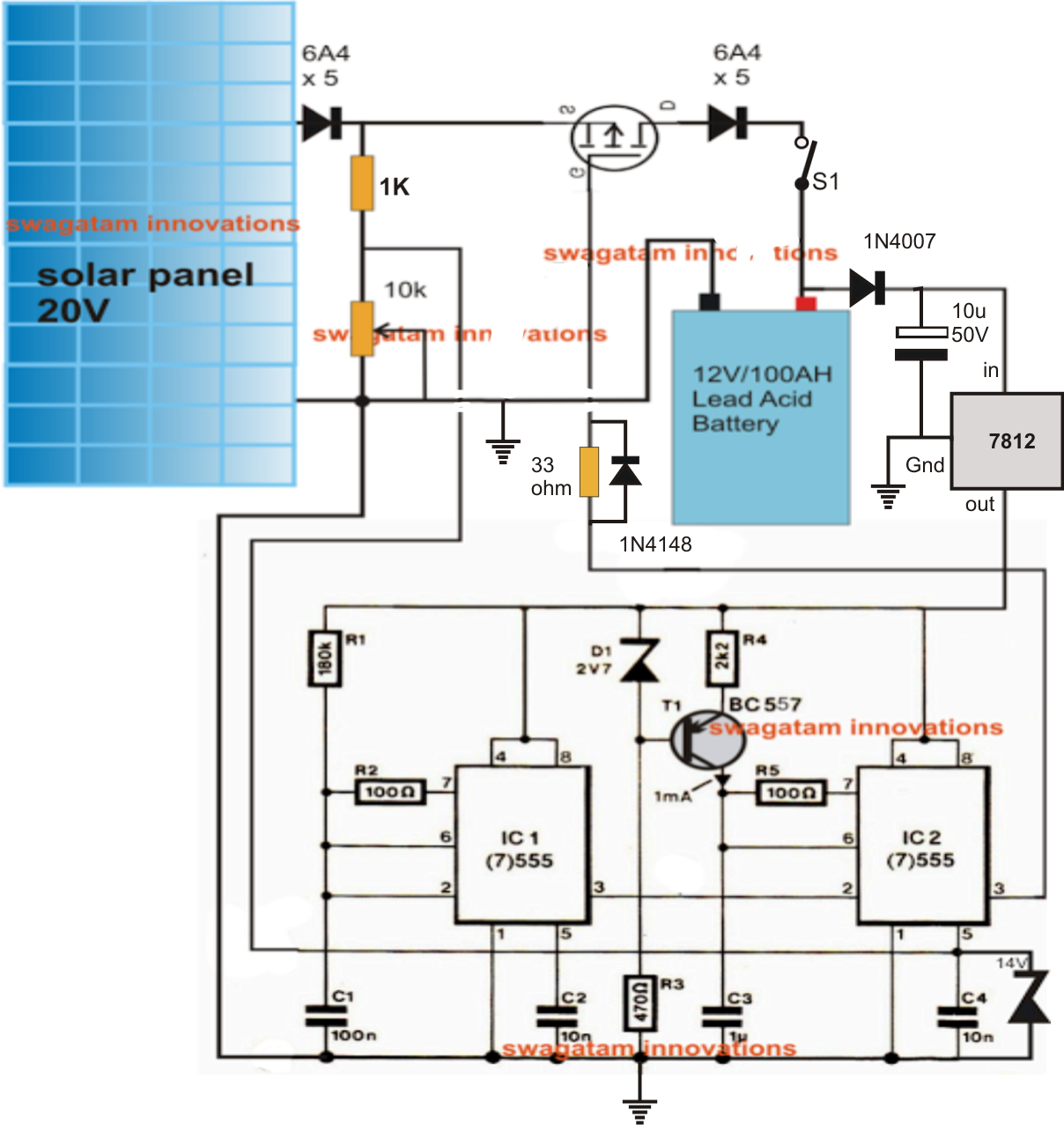 220v Dc Inverter Ups Circuit also Iphone Car Charger Wiring Diagram additionally How To Build Automatic 6 Volt 12 Volt together with How To Make Solar Inverter Circuit moreover Parallel Connecting Solar Panels. on homemade solar battery charger schematic